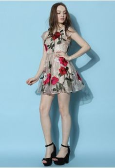 Blooming Fantasia Organza Dress in Taupe - Dress - Retro, Indie and Unique Fashion