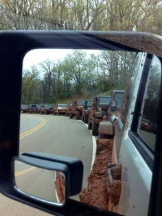 """Red Dirt Jeeps- Day of Dirt (mud) #3 43 vehicles... 41 Jeeps and 2 Chevy's :)"" Now that's a trail ride group!!"