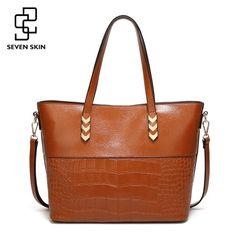 0317612d8b SEVEN SKIN Luxury Design Women Shoulder Bags Large Capacity Crocodile  Pattern Ladies Handbags Leather Messenger Bag