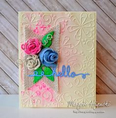 @donnasalazar w @SBAdhesivesby3L #Ribbon #Flower Hello #Card #Tutorial using #TextureRibbon #LaceRibbon #CanvasRibbon secured w #DodzXL accented w #3DFoamLeaves Step Out on Blog