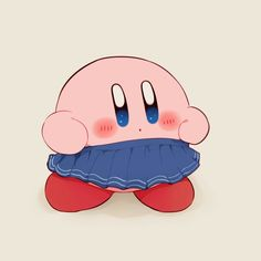 Kirby wearing an indigo skirt
