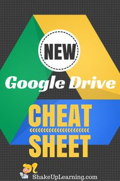A NEW Google Drive CHEAT SHEET: Here's a quick cheat sheet to get you started with the Drive management window. Now that the NEW Google Drive is rolling out to users, I decided to update my cheat sheet. I broke the drive window into four sections to make it easier to read. It is not a comprehensive guide to the changes in Google Drive, but mean to be a quick cheat sheet for new users who are just getting acquainted with this suite of cloud-based tools.
