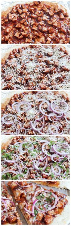 Easy homemade Grilled BBQ Chicken Pizza - quick no-rise homemade crust, grilled chicken, BBQ sauce, red onion, cilantro & mozzarella. Easy dinner in 30 minutes! #ad