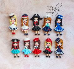 Cute unique pirate and sailors doll necklaces. Completely made from polymer clay without use of moulds or paint.  They'll be available on my Etsy shop tomorrow evening ( tuesday 4.8. ) at 9 p...