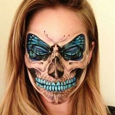 Awesome Butterfly and Skull Halloween Makeup.