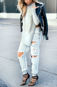 Street Style / white ripped jeans   knitted sweater   black leather jacket