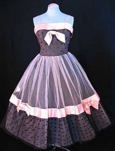 Gorgeous 1950's party dress in pink and black tulle with polka dots.