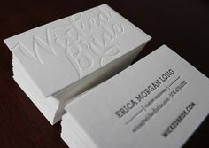 Letterpress business cards printed on double-thick paper with blind deboss