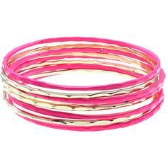 Florescent Pink Stack Bangles ($7.20) ❤ liked on Polyvore featuring jewelry, bracelets, accessories, bracelets/bangles, bangle bracelet, stacking bangles, pink bangle bracelet, pink jewelry and bangle jewelry
