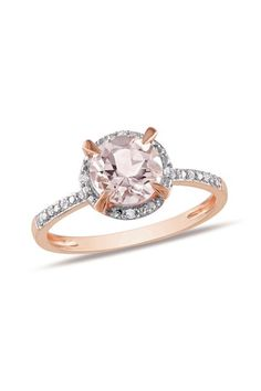 Two-Tone Diamond Trimmed Round Morganite Fashion Ring by Blushing Bride: Rose Gold Jewelry on @HauteLook