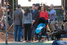 Darren Criss, Lea Michele, Matthew Morrison and Jayma Mays on the Glee set