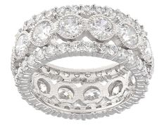Charles Winston For Bella Luce (R) 8.46ctw White Diamond Simulant Rhodium Over Sterling Silver Ring
