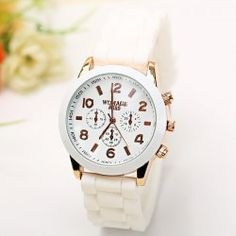 $3.90 WoMaGe Quartz Watch 6 Numbers and Rectangles Indicate Rubber Watch Band for Women - White