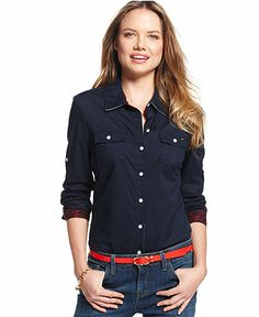 Tommy Hilfiger Button-Down Shirt, Classic Dot - Women - Macy's ...