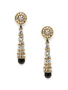 Gold Disc, Crystal, & Black Resin Briolette Drop  Earrings by House of Lavande on Gilt.com