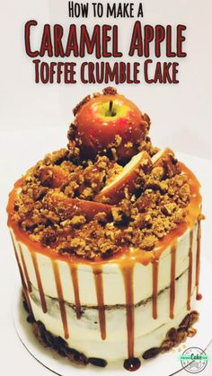 Perfect blend of amazing fall flavors - make this Caramel Apple Cake, complete with a generous covering of toffee crumble! Perfect blend of amazing fall flavors - make this Caramel Apple Cake, complete with a generous covering of toffee crumble! Fall Desserts, Christmas Desserts, Delicious Desserts, Holiday Cakes, Apple Cake Recipes, Dessert Recipes, Apple Cakes, Chocolate Apple Cake Recipe, Salted Caramel Apple Cake Recipe