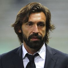 Andrea Pirlo with medium hair and a groomed beard. Andrea Pirlo, Italian Hair, Italian Men, Mens Beard Dye, Football Hairstyles, Mens Fashion Uk, Men's Fashion, Beard Line, Beard Grooming
