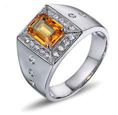 Bague chevaliere Saphir jaune et Diamant