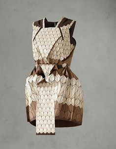 half wooden, half textile dress created in collaboration by the French fashion designer Léa Peckre and the German textile designer Elisa Strozyk. @Futurotextiles Exhibit