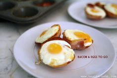 Paleo Bacon & Eggs To Go - In a muffin pan, place a piece of Canadian bacon into each hole. Press it down and crack an egg into each piece of bacon. Cook in oven for approximately:    •Runny Yolk – 8 minutes  •Semi-Soft Yolk – 10 minutes  •Hard, Crumbly Egg – 14 minutes  - from http://www.health-bent.com/pork/bacon-and-eggs-to-go#