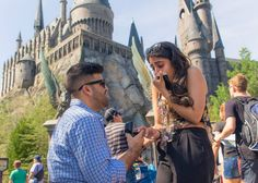 Wizarding World of Harry Potter Surprise Proposal at Universal Studios in Orlando, FL Suprise Proposal, Gay Proposal, Romantic Proposal, Proposal Photos, Proposal Ideas, Wedding Proposals, Marriage Proposals, Wedding Humor, Harry Potter Proposal
