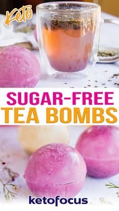 These sugar free tea bombs will bring your favorite beverage to the next level without using isomalt crystals. They are crafted using loose or bagged tea encased in a decorative hard candy shell. As your drop the tea bomb in hot water, the sugar free shell melts, exploding the tea out into your mug. Be sure to give this recipe a try if you are looking for a fun twist on typical tea beverages. | @ketofocus #howtomaketeabombs #ketorecipes #ketodrinks Shake Recipes, Keto Recipes, Lunch Recipes, Drink Recipes, Dinner Recipes, Dessert Recipes, Sugar Free Drinks, Low Carb Drinks, Keto Drink