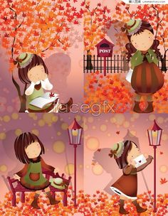 Autumn theme cute cartoon girl series vector illustration Autumn Art, Autumn Theme, Cute Cartoon Girl, Cartoon Painting, Girls Series, Cute Illustration, Graphic Art, Vector Free, Super Cute