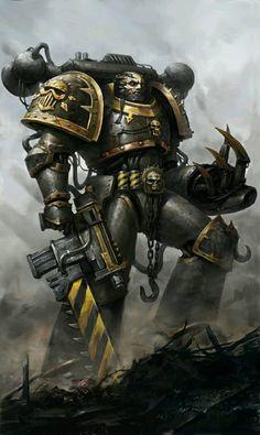 Warhammer Iron Warrior – fan art by Troll Juncha Warhammer Fantasy, Warhammer 40k Art, Warhammer Games, Warhammer Models, Space Marine, Chaos Legion, Fan Art, Illustration, Steampunk