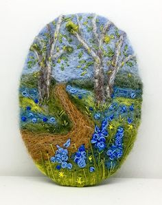 Needle Felted Brooch   Blue Bell Glade