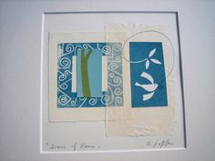 Monotype - White Dove of Peace - Mounted / Matted Monoprint - Original…