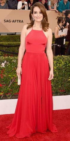 Ladies, I know a nude lip is in, but color works with these gowns usually. Tina Fey - Screen Actors Guild Awards 2016