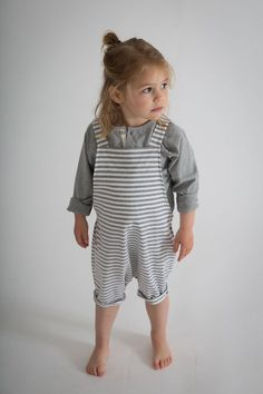 Gray Label Organic Short Leg Salopette In Striped Grey Gray Label, Kids Boutique, Striped Jersey, One Clothing, Pinafore Dress, Dungarees, Baby Month By Month, Comfortable Fashion, Spring Dresses