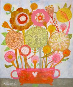 Orange and citric flowers.Original art painting flowers, bohemian, folk, naive, primitive. By Mercedes Lagunas