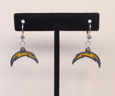 San Diego Chargers Earrings, SD Chargers Jewelry, Aqua Crystal Leverback Earrings, Pro Football Chargers Bling Accessory Fanwear by scbeachbling on Etsy