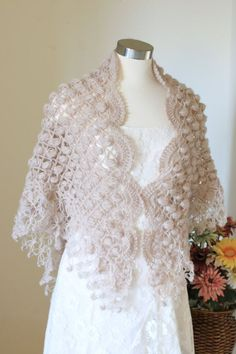 Bridal Shawl, Wedding Shawl, Shrug, Ivory Shawl, Winter Wedding, Bridal Bolero, Crochet Shawl, Bridal Shrug, Blush Shawl, Blush Bolero and Shrug  Crochet custom shawls for your wedding and many occasion Color shown on the first two picture # 11 BEIGE other two #4 IVORY Shape, triangular Made to order Please allow me 2 to 5 days to make it. it depends on my work load. Are you in a hurry, please contact with me, if i am able to speed up your order, i can send it next day.  Measurement…