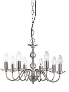 3458-8SS MONARCH - závesný sviečkový luster - strieborný kov