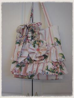 Vintage Flowers Ruffled Market Bag