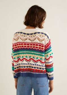 Pull-over multicolore texturéMango Textured Multicolor Sweater - S-MJumpsuits for Woman 2019 Crochet Cardigan, Knit Crochet, Jersey Multicolor, Knitting Patterns, Crochet Patterns, Crochet Woman, Crochet Fashion, Crochet Clothes, Look Fashion