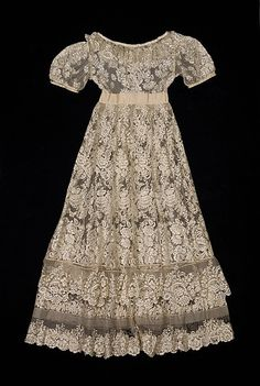 White silk lace evening dress, probably American, ca. 1825.
