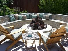 built in circular seating & fire pit