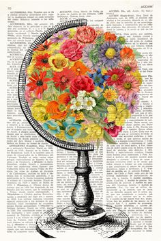 FLOWERED WORLD Print, flowered earth, world with flowers, world school globe, fl. Globe Flower, Globe Tattoos, Posca Art, Newspaper Art, Globe Art, Vintage Globe, Book Page Art, Dictionary Art, Anatomy Art