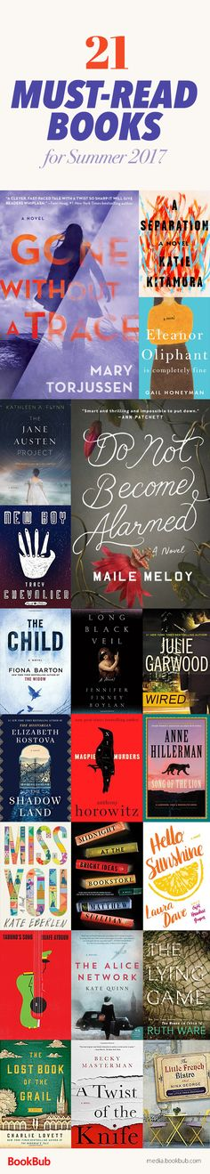 21 books to read in 2017, including thrillers, historical fiction, bestselling new fiction, and more.