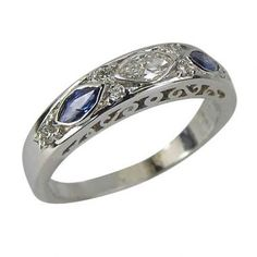 Sapphire Ring Vintage Wedding Bands--I love my wedding band and wouldn't change it, I just thought this was really pretty as another ring to wear