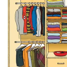 Closet-design pros share their secrets for creating the ultimate storage unit, no power tools required. | Illustration: Arthur Mount | thisoldhouse.com