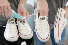 Clean stains off white tennis shoes with nail polish remover. Nail polish remover will also remove scuffs from patent leather shoes. Deep Cleaning Tips, House Cleaning Tips, Cleaning Hacks, Spring Cleaning, Clean Tennis Shoes, White Tennis Shoes, White Converse Shoes, How To Clean White Shoes, Clean Shoes