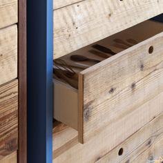 Cassettiera Tola con cassetti in legno grezzo - ARREDACLICK