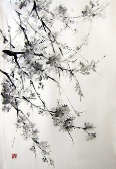 Sakura Japanese Ink Painting on Rice Paper 17x26 by Suibokuga, €58.00