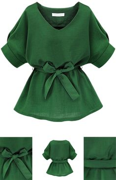 Green V Neck Bow Tie Short Sleeve Blouse tsamts Casual Mode, Tie Shorts, Mode Inspiration, Short Sleeve Blouse, Short Sleeves, African Fashion, Korean Fashion, Blouse Designs, Work Wear