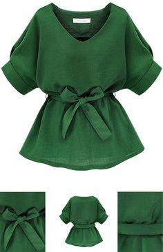 Green V Neck Bow Tie Short Sleeve Blouse
