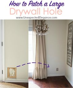 Have a large hole in your wall?? Get step by step directions for How to Patch a Large Drywall Hole!!